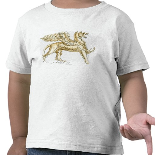 Illustration of a griffin statue tee shirts