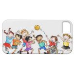 Illustration of a group of children including a iPhone 5 cases
