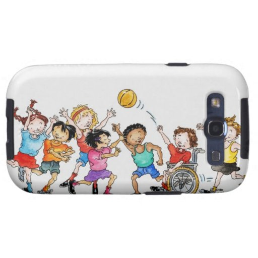 Illustration of a group of children including a samsung galaxy s3 cover