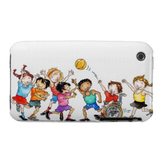 Illustration of a group of children including a iPhone 3 cover
