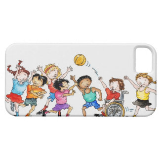 Illustration of a group of children including a iPhone SE/5/5s case