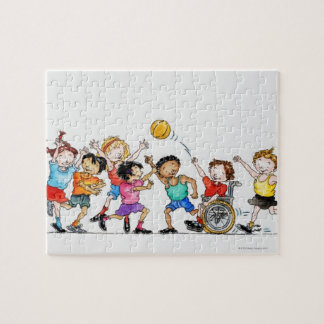 Illustration of a group of children including a jigsaw puzzle