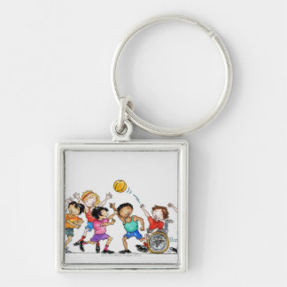 Illustration of a group of children including a keychain