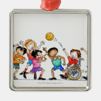 Illustration of a group of children including a metal ornament