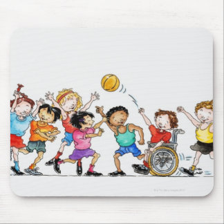 Illustration of a group of children including a mouse pad