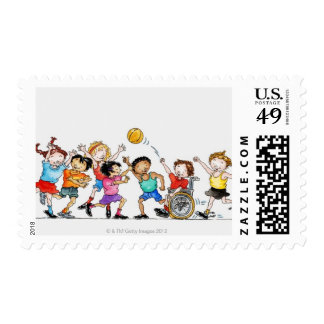 Illustration of a group of children including a postage stamp