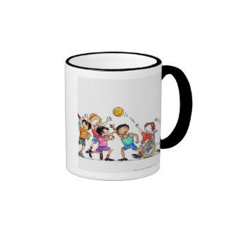Illustration of a group of children including a ringer mug