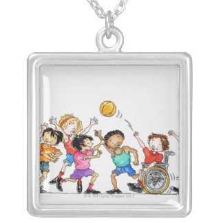 Illustration of a group of children including a silver plated necklace