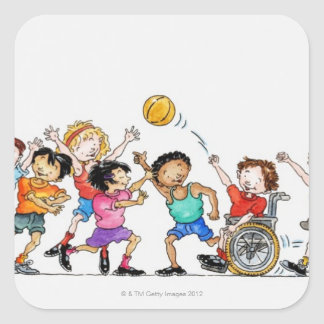 Illustration of a group of children including a square sticker