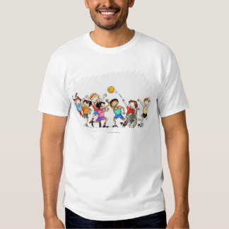 Illustration of a group of children including a t shirt