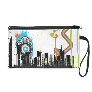 Illustration of a grungy cityscape wristlet clutches