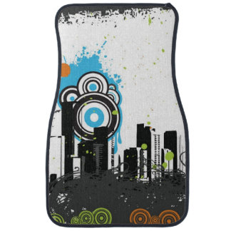 Illustration of a grungy cityscape car floor mat