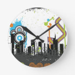 Illustration of a grungy cityscape round wallclock