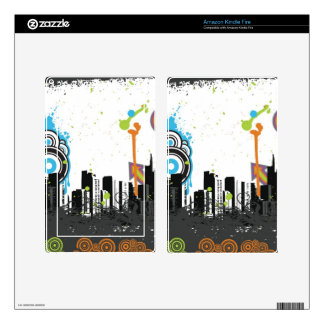 Illustration of a grungy cityscape skins for kindle fire