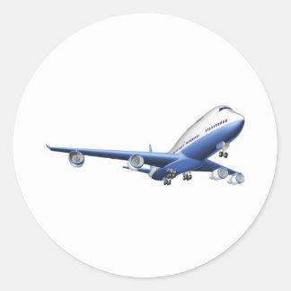 Illustration of a large passenger plane classic round sticker