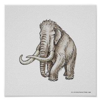 Illustration of a mammoth poster