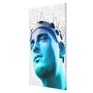 Illustration of a man wearing a cap of electrodes gallery wrap canvas