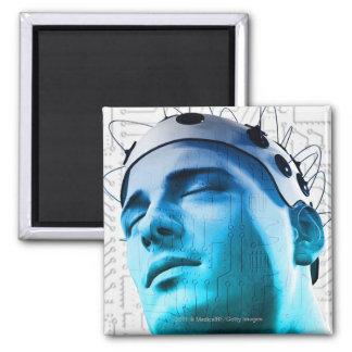 Illustration of a man wearing a cap of electrodes fridge magnets