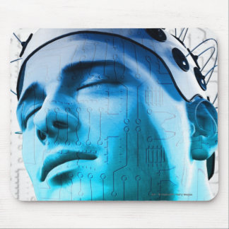Illustration of a man wearing a cap of electrodes mouse pad