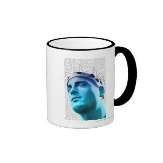 Illustration of a man wearing a cap of electrodes ringer coffee mug