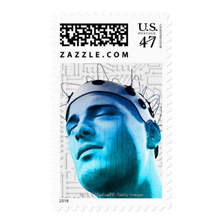 Illustration of a man wearing a cap of electrodes postage stamp