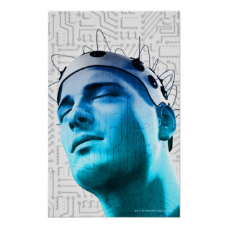 Illustration of a man wearing a cap of electrodes posters
