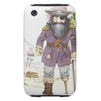 Illustration of a pirate with parrot perched on iPhone 3 tough case