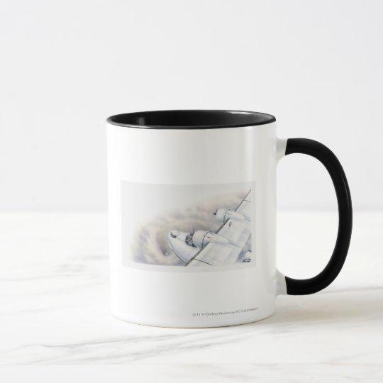 Illustration of a plane flying above wormhole mug