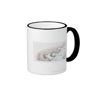 Illustration of a plane flying above wormhole mugs