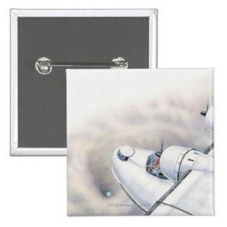 Illustration of a plane flying above wormhole pinback button