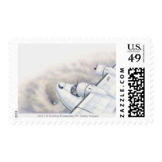 Illustration of a plane flying above wormhole postage stamps
