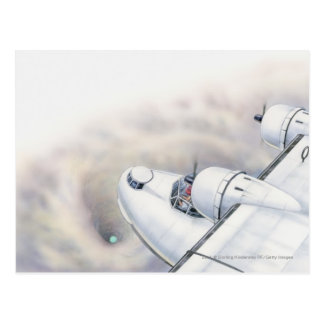 Illustration of a plane flying above wormhole postcard