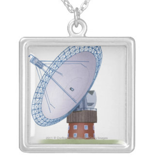 Illustration of a radio telescope silver plated necklace