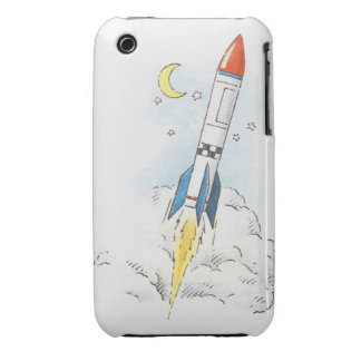 Illustration of a rocket taking off iPhone 3 Case-Mate case