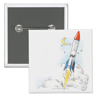 Illustration of a rocket taking off pinback button