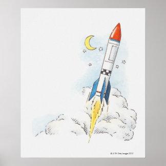 Illustration of a rocket taking off poster
