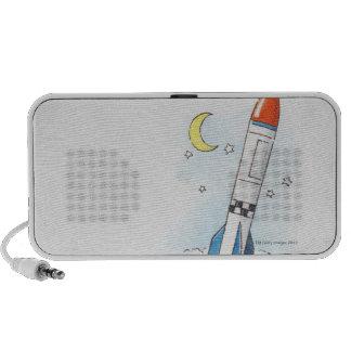 Illustration of a rocket taking off speaker system