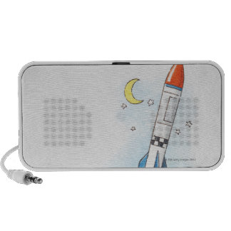 Illustration of a rocket taking off iPhone speakers