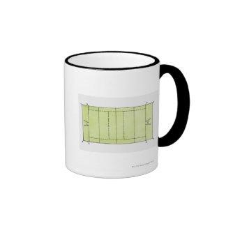 Illustration of a rugby pitch ringer mug