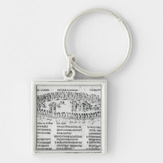 Illustration of a scene from one of the Psalms Silver-Colored Square Keychain