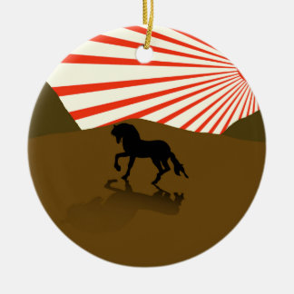Illustration of a silhouette of a stallion. ceramic ornament