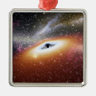 Illustration of a supermassive black hole metal ornament