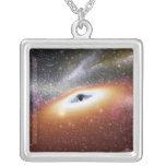 Illustration of a supermassive black hole square pendant necklace