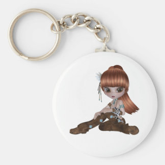 Illustration of a sweet little girl keychain