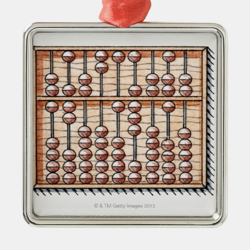 Illustration of abacus square metal christmas ornament