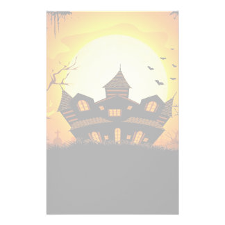 Illustration Of Abandoned Haunted House Stationery