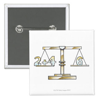 Illustration of adding numbers on scales pinback button