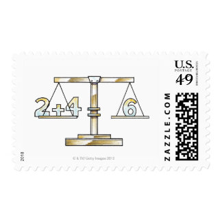 Illustration of adding numbers on scales stamps