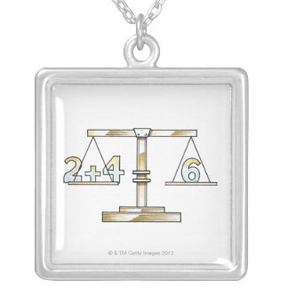 Illustration of adding numbers on scales silver plated necklace