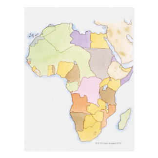 Illustration of African territories and states Postcard